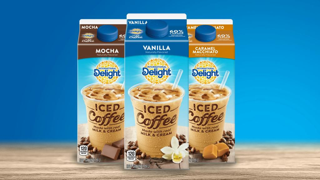 Packshots des produits de la gamme International Delight Iced Coffee