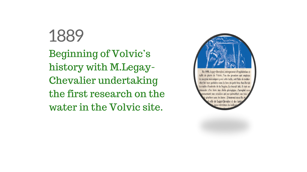 Volvic history illustration - M. Legay-Chevalier's first research in the Volvic site (1889)