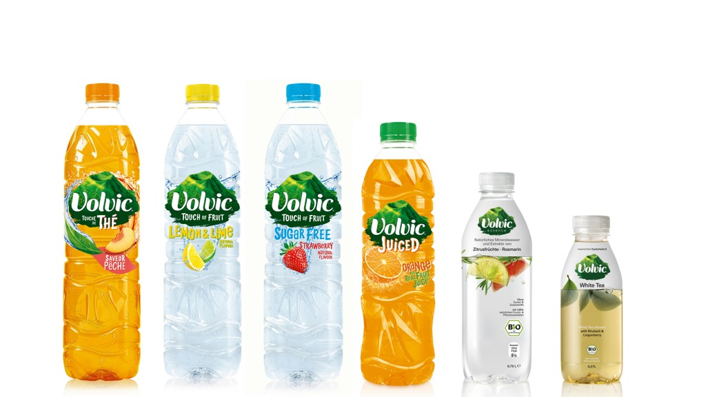 Three Volvic products ranges: fruits flavors, Essence, and Infusion bio
