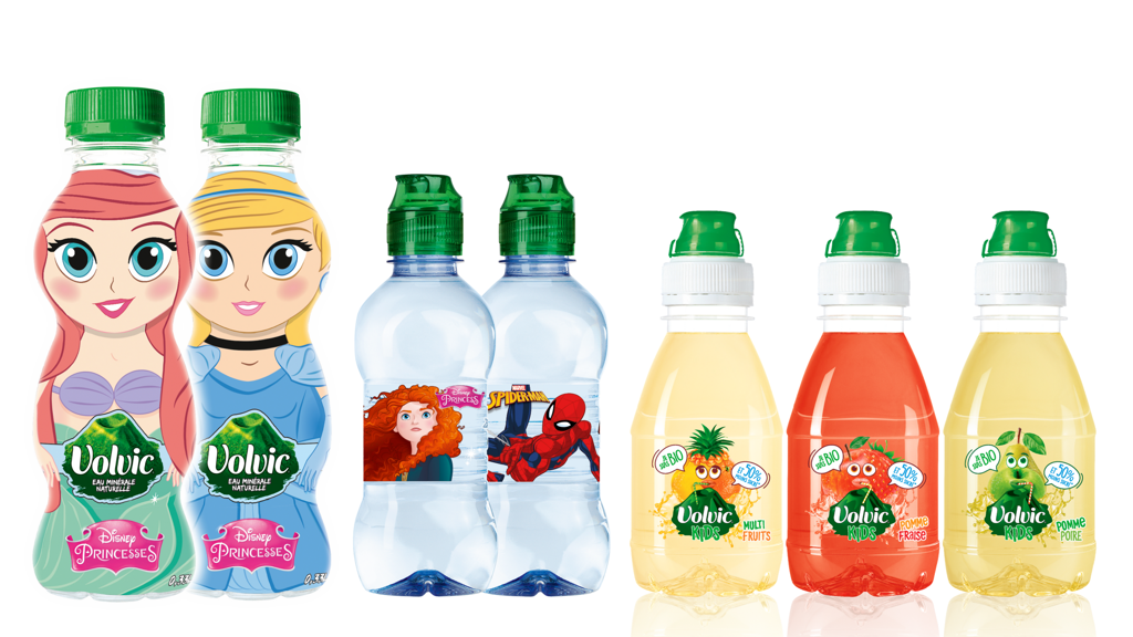 Small Volvic bottles for children - packaging with famous characters